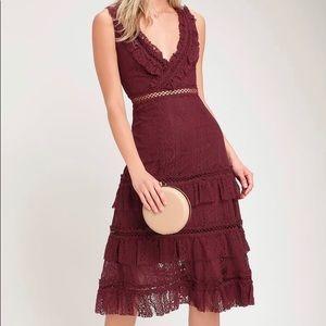 Lulus Lace Burgundy Ruffle Dress
